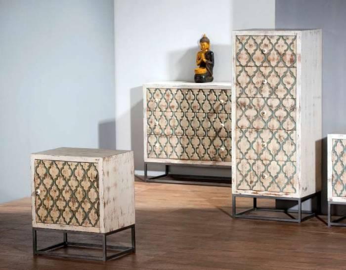 Comodă dressing 5 sertare Maharani, 115x35x45 cm, mango/metal, alb/bej