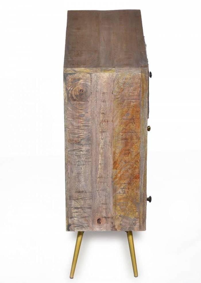 Comodă living Agra, 80x35x75 cm, mango/metal/piele, maro/multicolor