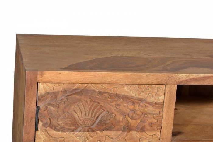 Comodă TV cu ornament sculptat Varanasi, 62x40x130 cm, sheesham/ metal, maro/negru