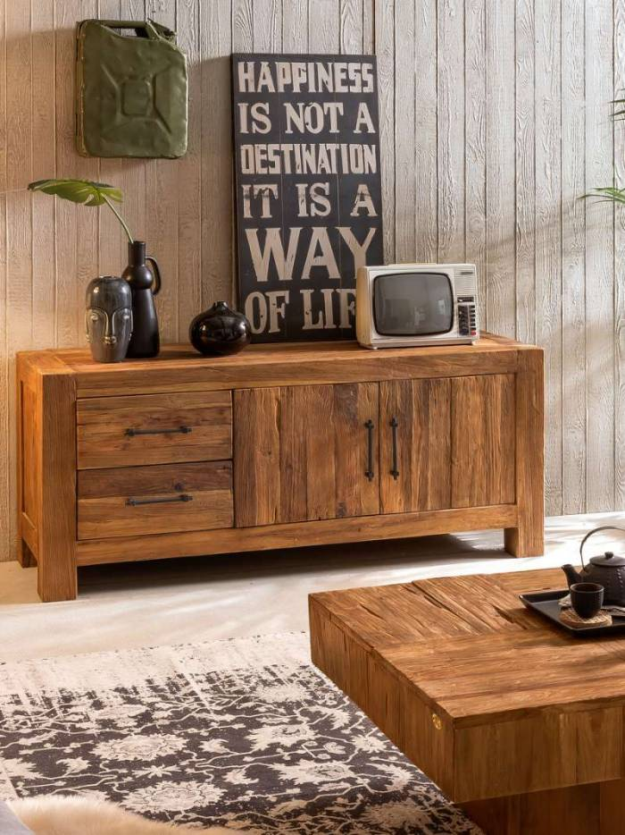 Comodă TV lemn de tec Frama, 70x50x160 cm, lemn, maro