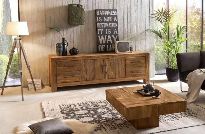 Comodă TV lemn de tec Frama, 70x50x210 cm, lemn, maro