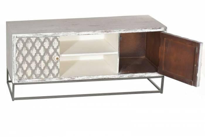 Comodă TV Maharani, 55x40x130 cm, mango/metal, alb/bej