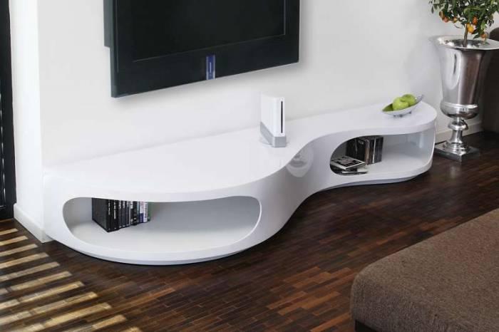 Comodă TV modernă Organics 200x50x30 cm, MDF, alb