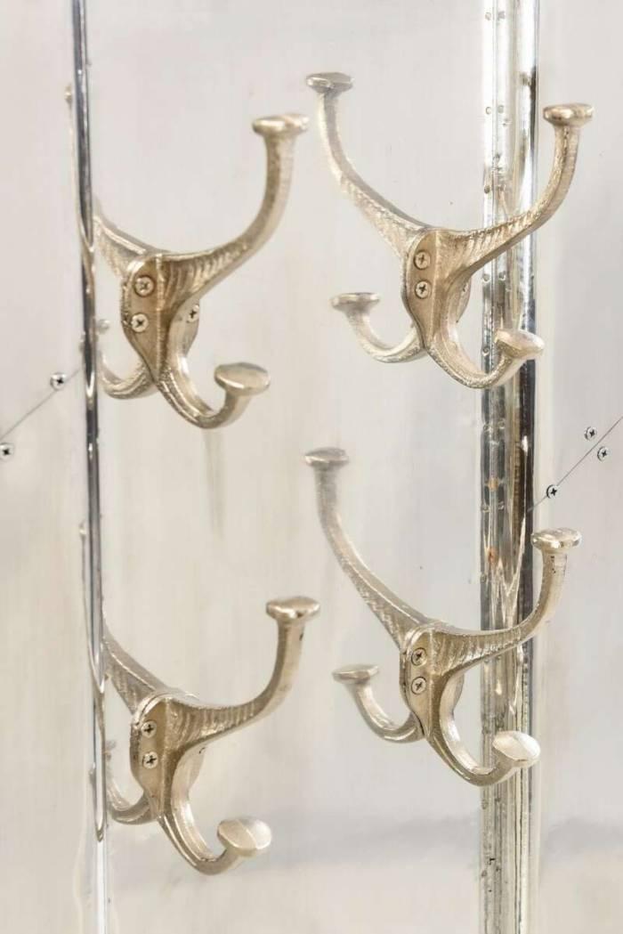 Cuier în stil industrial Hangar 11, 110x8x35 cm, lemn/ aluminiu, argintiu