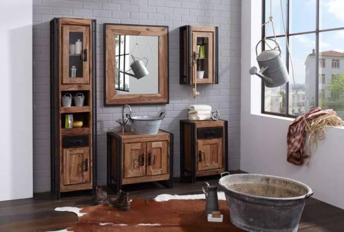 Dulap de baie pentru lavoar Panama, 62x42x67 cm, sheesham/ metal, maro/negru