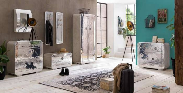 Dulap pentru haine Hangar 11, 180x40x80 cm, lemn/ aluminiu, argintiu