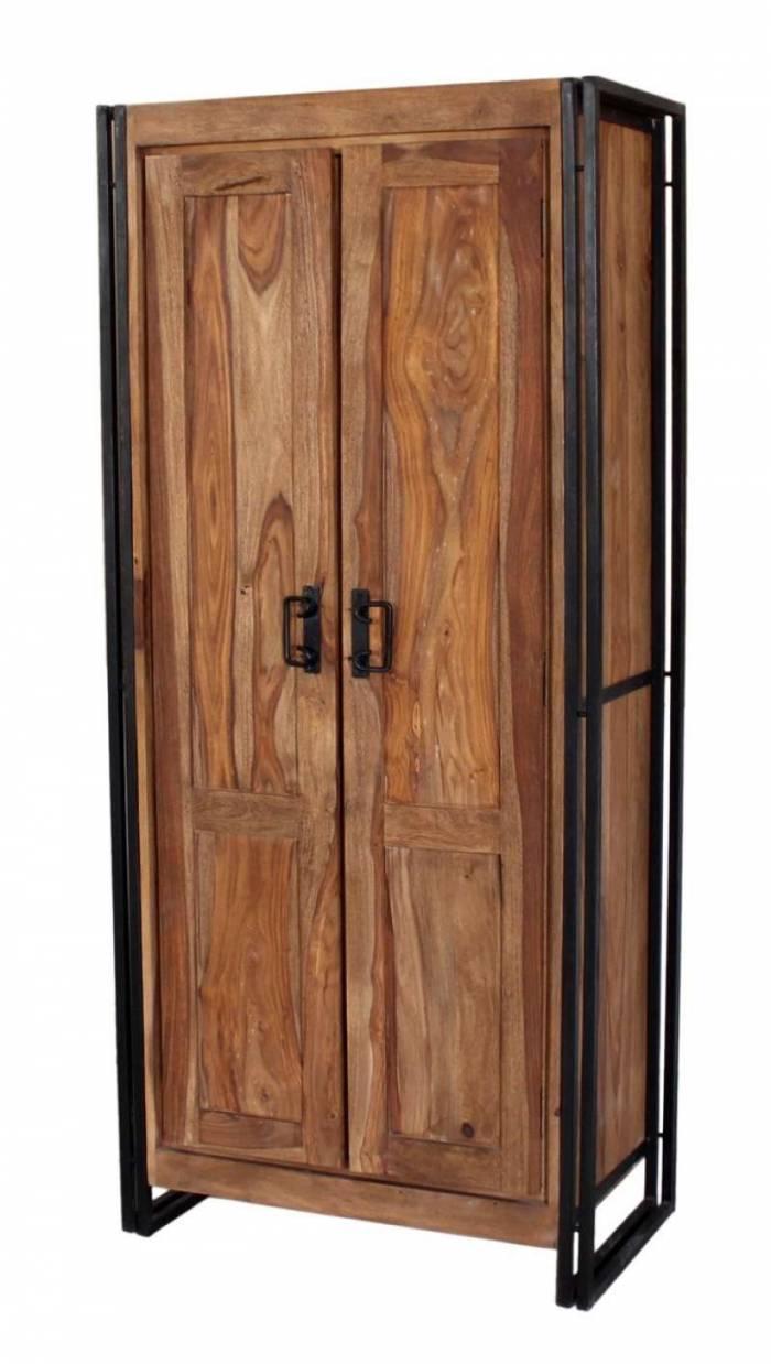 Dulap pentru haine Panama, 180x45x80 cm, sheesham/ metal, maro/negru