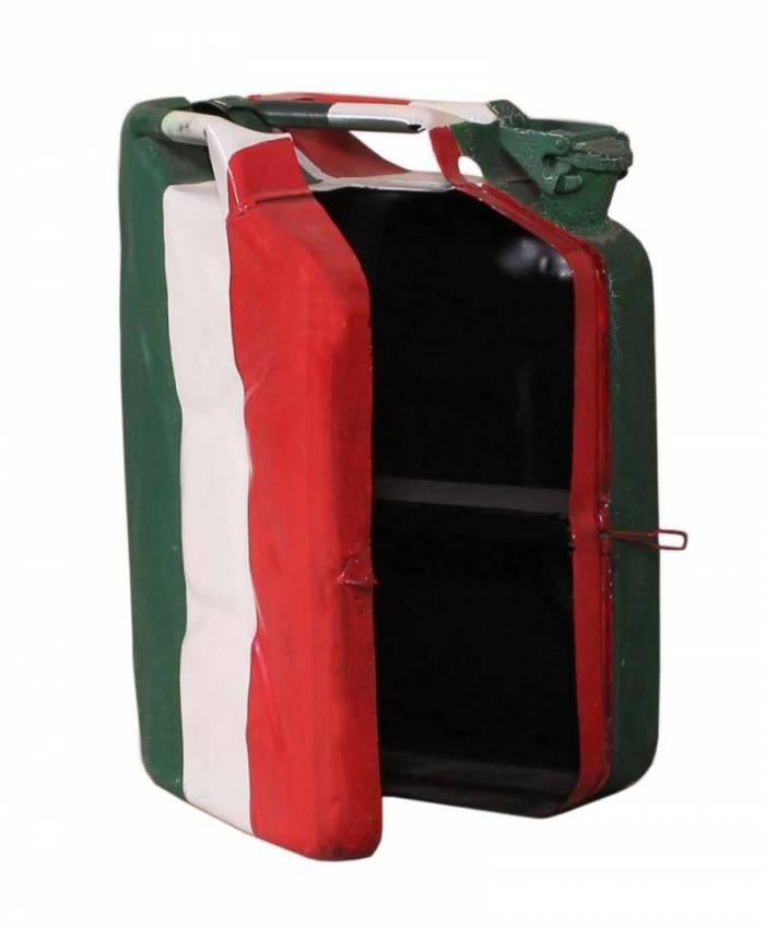 Dulap suspendat Italus, 48x15x35 cm, metal, alb/rosu/verde