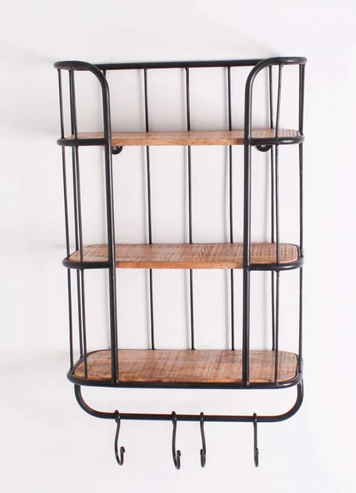 Etajeră cuier Stockton, 70x23x45 cm, mango/metal, negru/maro