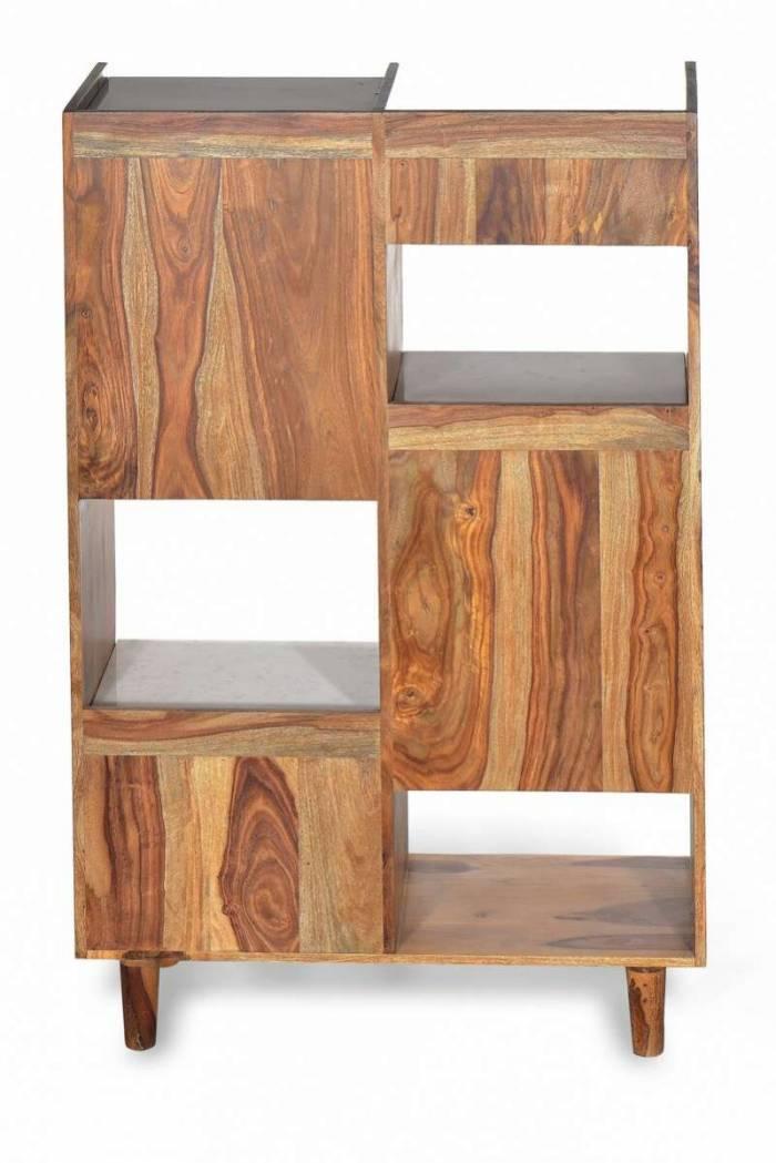 Etajeră living Emporio, 145x35x80 cm, shessham/marmura, maro/ alb
