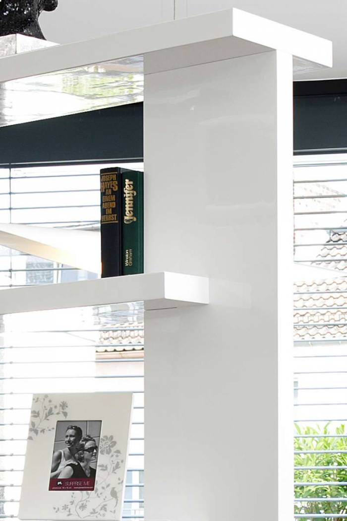 Etajeră living Kama 128x30x180 cm, MDF, alb