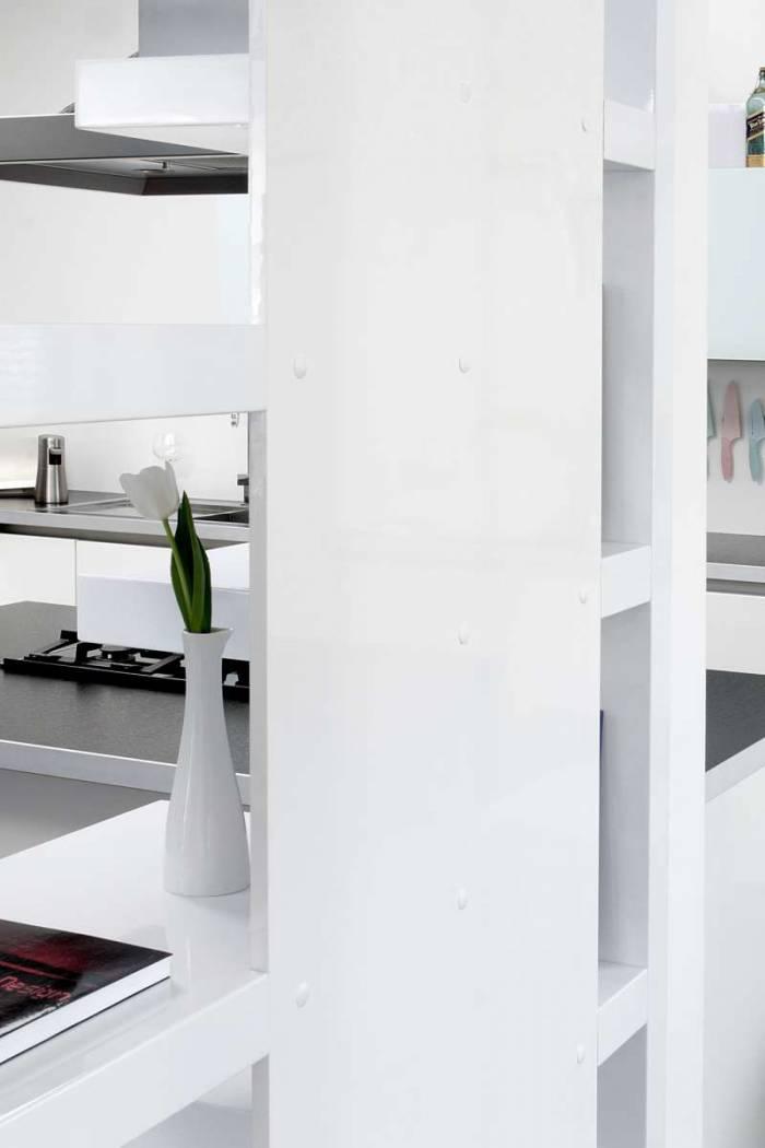 Etajeră living Kama, 200x35x200 cm, MDF, alb