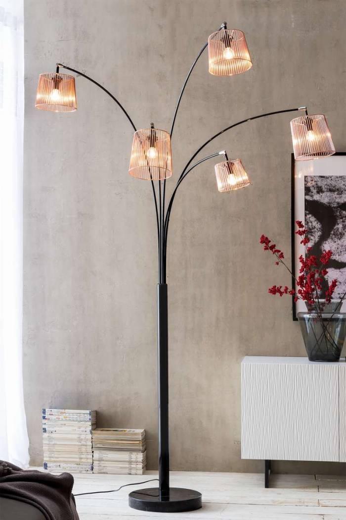 Lampadar cu 5 brațe Ansel 215 cm, cupru