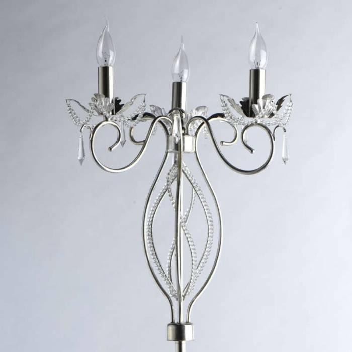 Lampadar cu trei brațe Giuseppe, 158x44 cm, metal/ cristal, argintiu