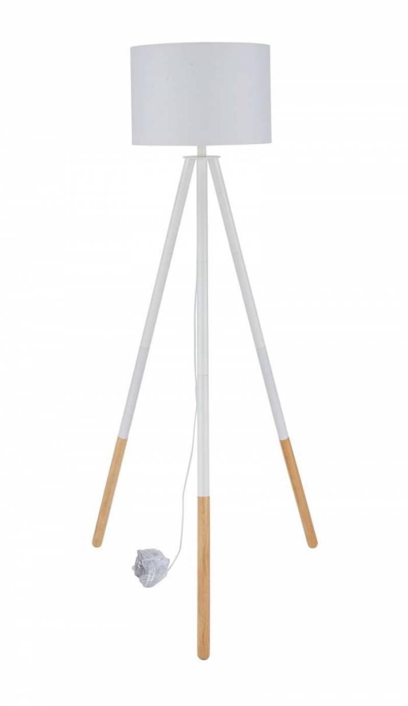 Lampadar trepied Pacific, 154x65x65 cm, lemn/poliester, alb/bej