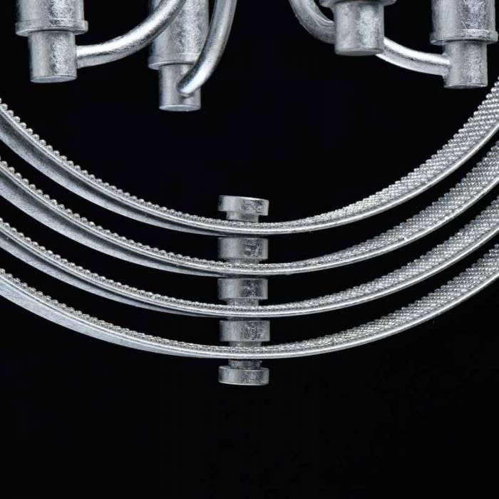 Lustră clasică Josef, 220x40 cm, metal, argintiu