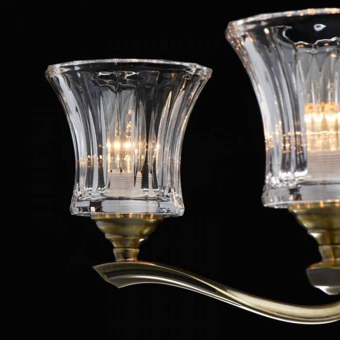 Lustră clasică Loralee, 90x66 cm, metal/ aluminiu/ sticla, alama