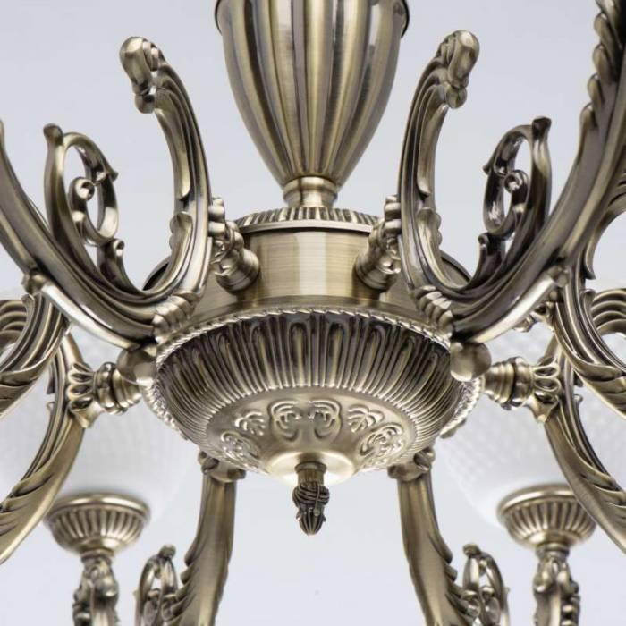 Lustră clasică Lucretia, 80x84 cm, metal/ sticla, alama