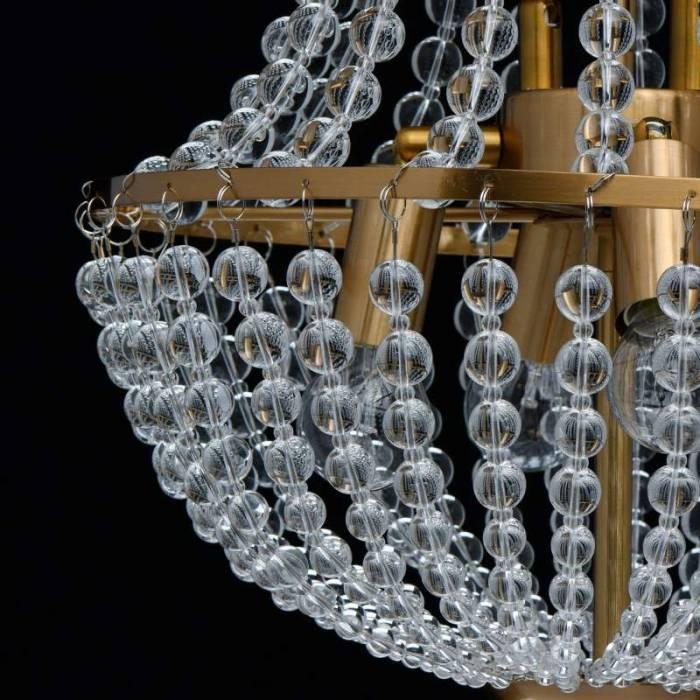 Lustră elegantă cu cristale Edwina, 132x35 cm, metal/ sticla, alama