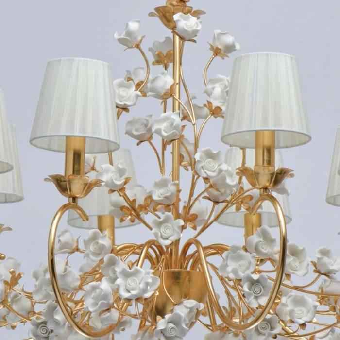 Lustră florală Hailey, 226x83 cm, metal/ ceramica/ acril, auriu