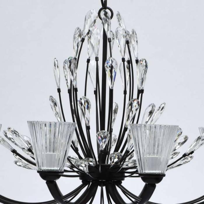 Lustră florală Miriam, 220x82 cm, metal/ cristal/ sticla, negru