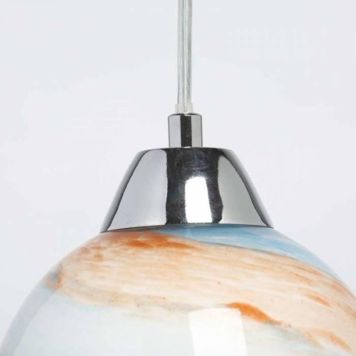 Lustră pendul colorată Liliana, 225x14 cm, metal/ sticla, argintiu