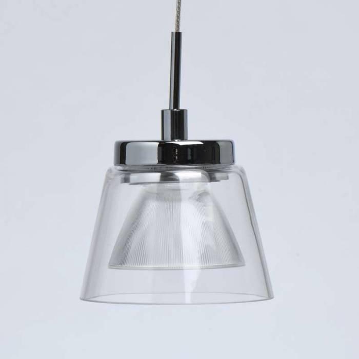 Lustră pendul Nathan, 160x10 cm, metal/ aluminiu/ sticla/ acril, crom