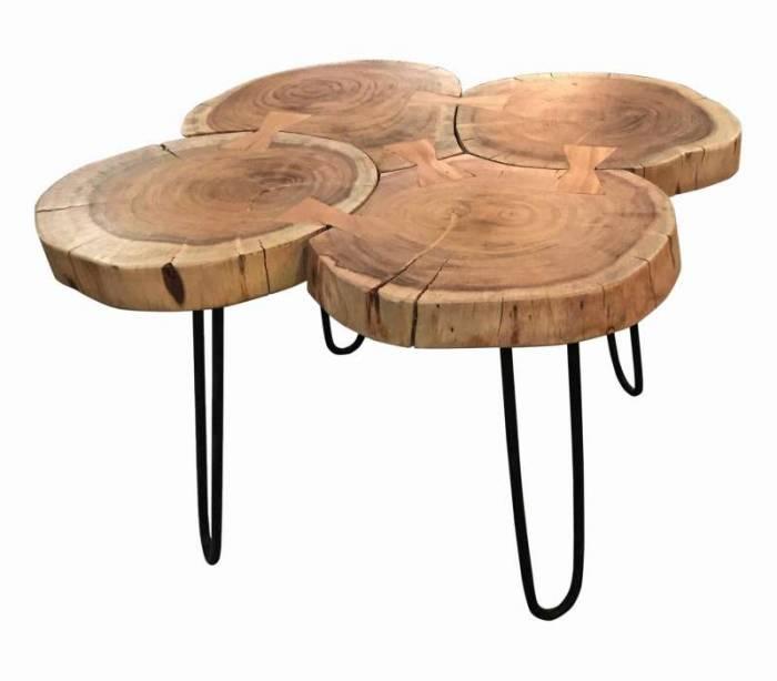 Masă de cafea Kerak, 45x50x50 cm, acacia/metal, maro/negru