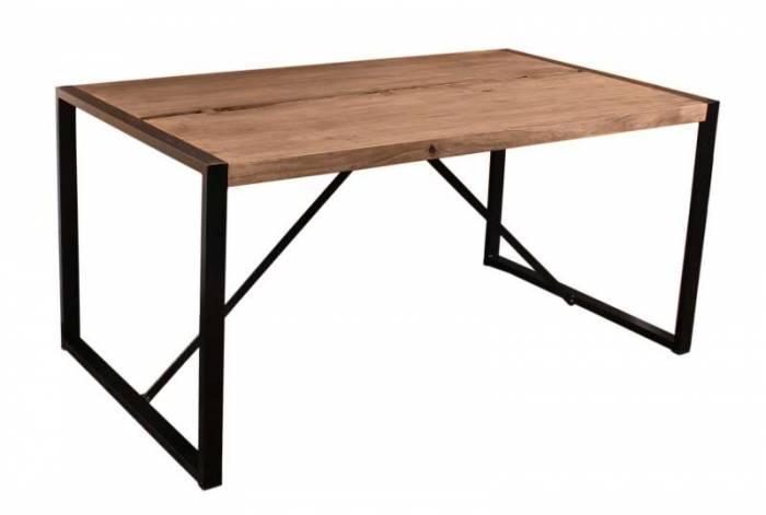 Masă de dining Brixton, 76x100x200 cm, acacia/metal, maro/ negru