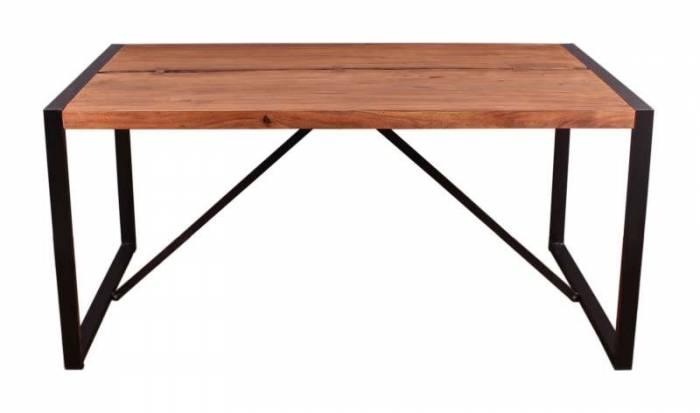 Masă de dining Brixton, 76x90x160 cm, acacia/metal, maro/ negru