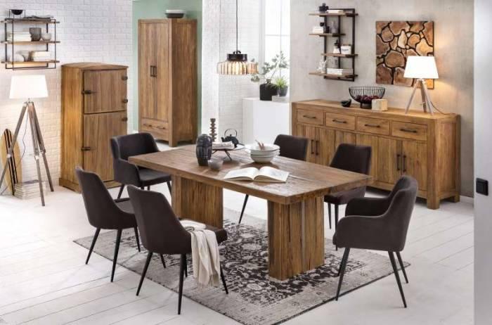 Masă de dining Frama, 78x100x200 cm, lemn/metal, maro
