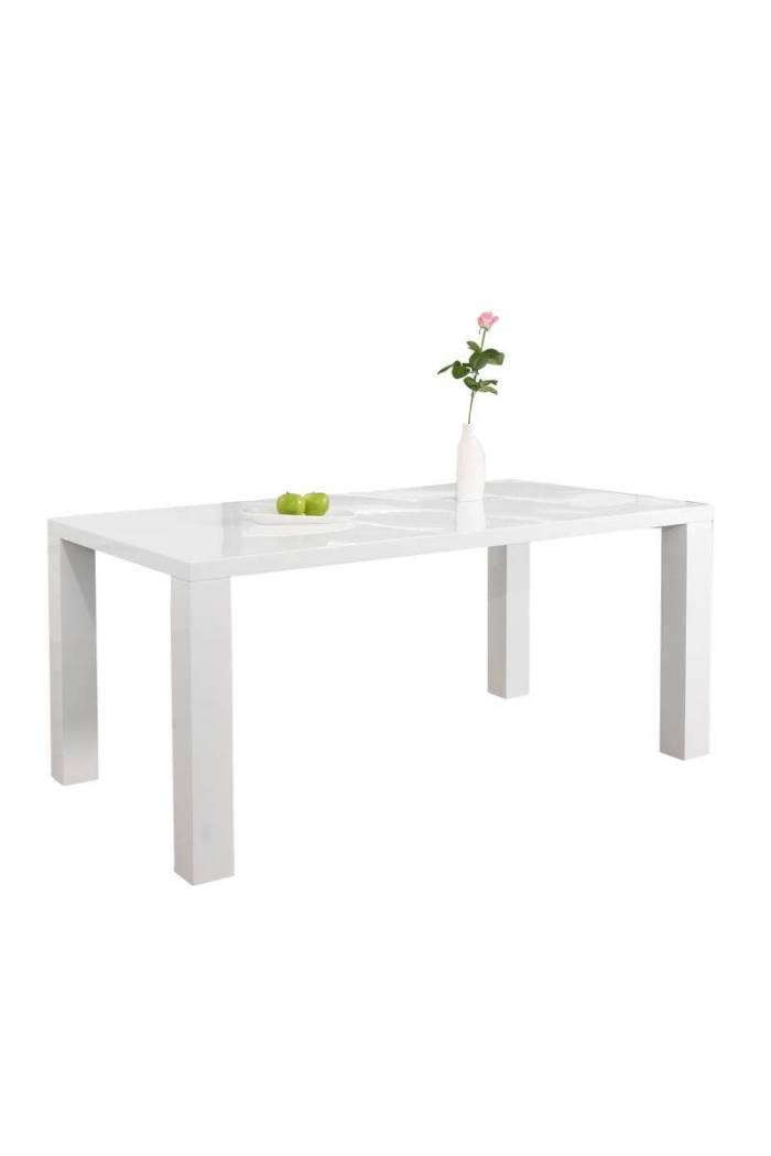Masă de dining Gloss 140x90x76 cm, MDF, alb