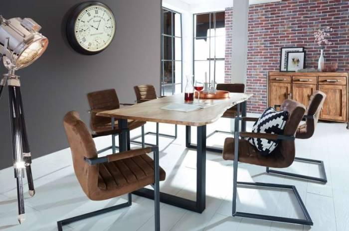 Masă de dining, lemn de acacia, 140x80x77 cm Freya Black