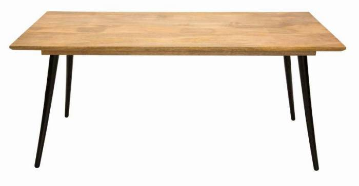 Masă de dining stil scandinav Tom Tailor, 77x90x180 cm, mango, maro/negru