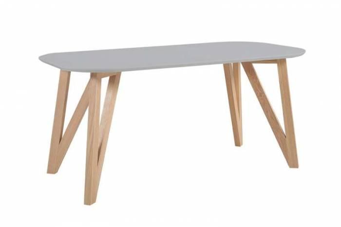 Masă dining Nordik 180x90x76 cm, lemn de stejar, gri