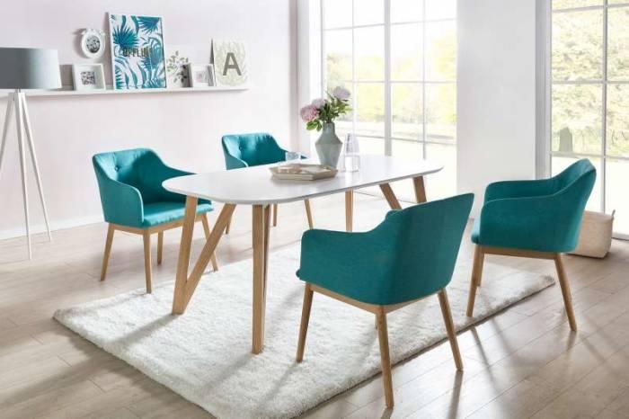 Masă dining stil scandinav Eysen 200x90x76 cm, stejar/MDF, alb