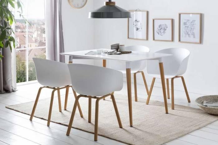 Masă dining stil scandinav Jette 120x80x75 cm, metal, lemn, alb