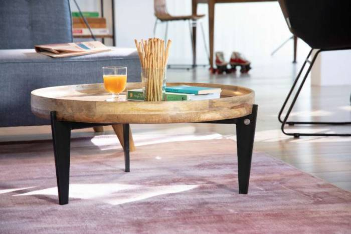 Măsuță de cafea cu blat tavă Tom Tailor, 34x75x75 cm, mango, maro/negru