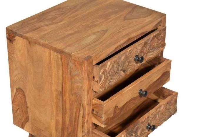 Noptieră cu 3 sertare Varanasi, 62x35x45 cm, sheesham/ metal, maro/negru