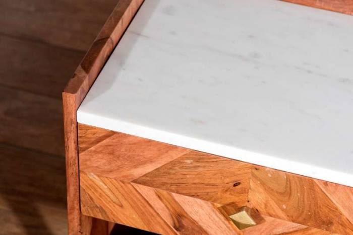 Noptieră cu sertar Emporio, 50x33x45 cm, shessham/marmura, maro/ alb