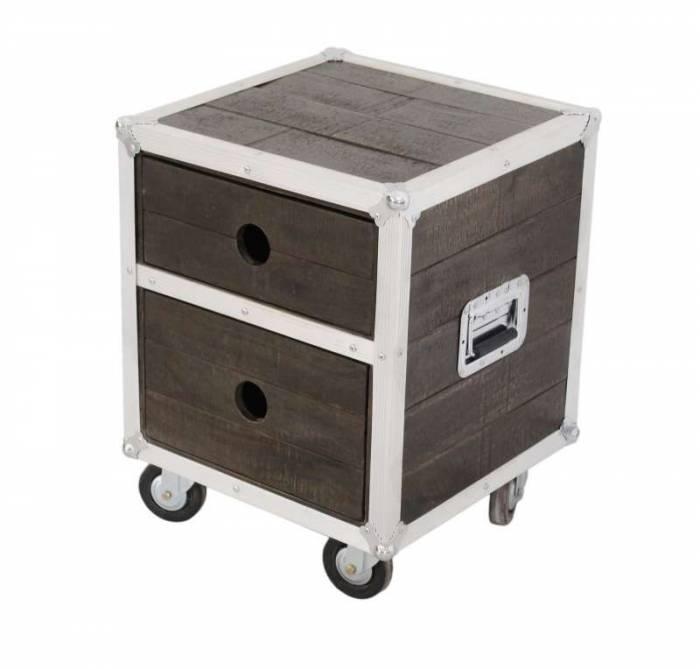 Noptieră cu sertare Woodstock, 60x45x45 cm, mango, maro/argintiu