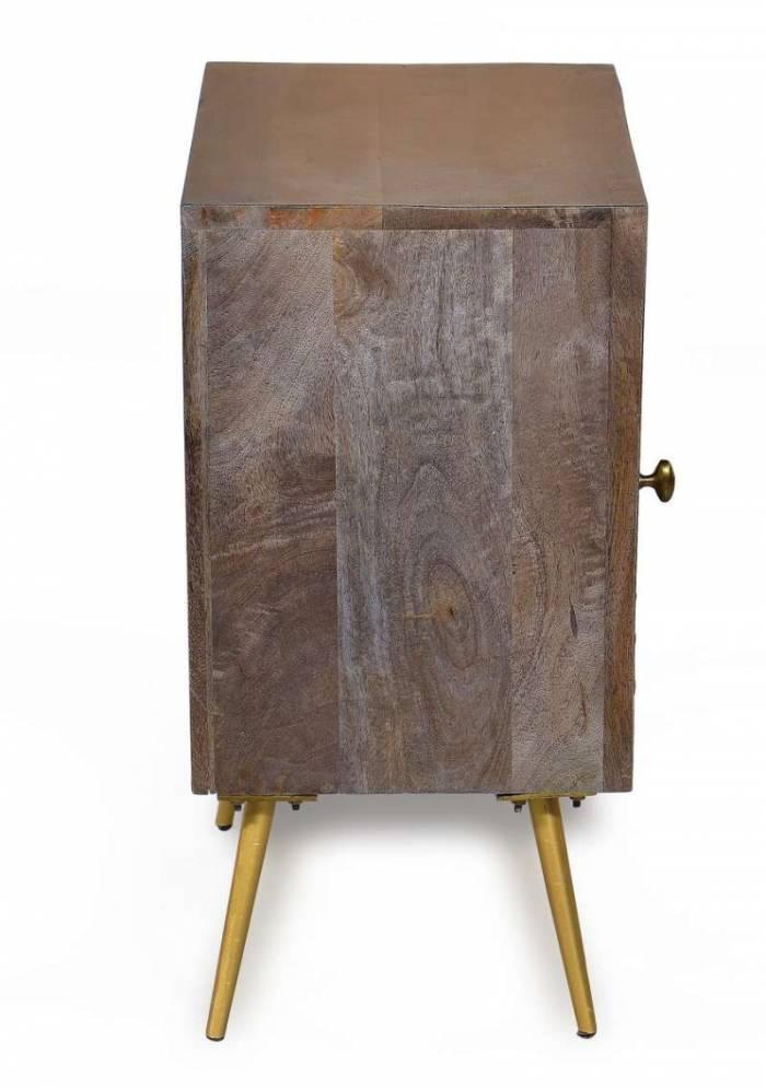 Noptieră cu ușă Agra, 60x33x45 cm, mango/metal/piele, maro/multicolor