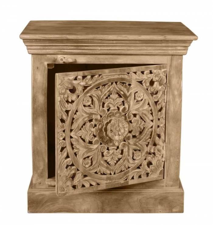 Noptieră cu ușă sculptată Lakadee, 65x40x60 cm, mango, maro