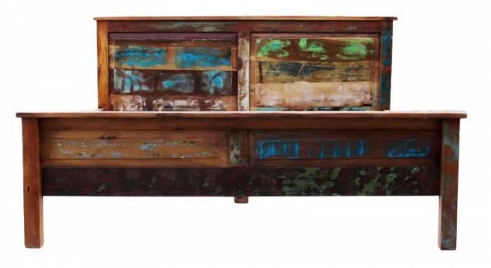 Pat din lemn reciclat Indochina, 100x220x190 cm, lemn, multicolor