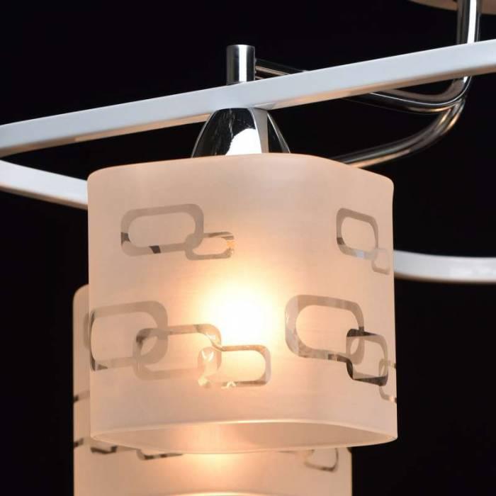 Plafonieră Alissa alb, crom, 26x53 cm, metal/ sticla, alb