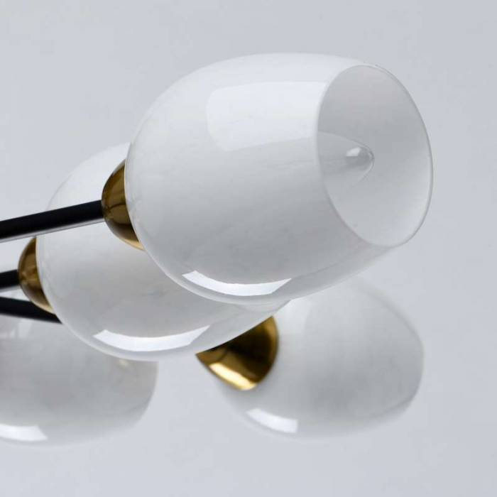 Plafonieră Ariel, 14x77x77 cm, metal/ sticlă, alamă