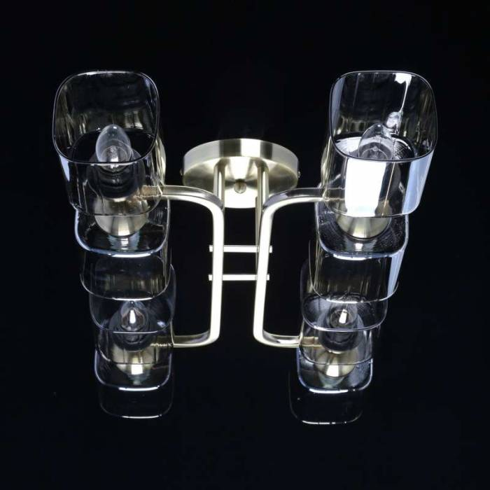 Plafonieră Bruna, 20x35x75 cm, metal/ sticla, negru