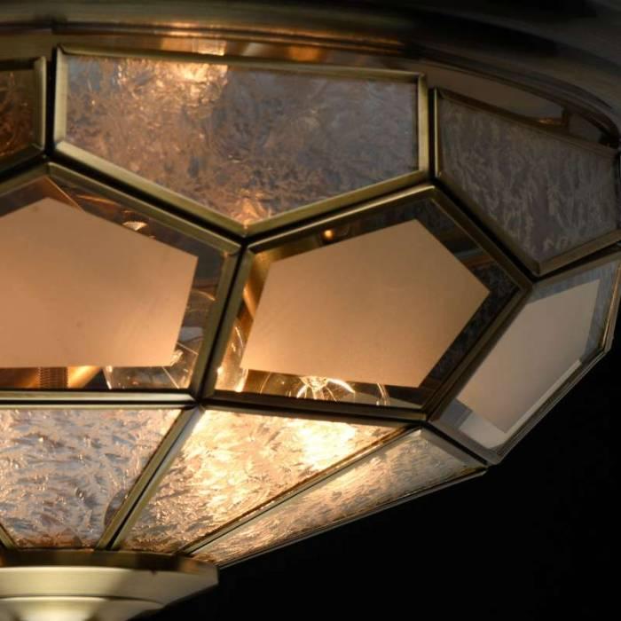 Plafonieră Danielle, 21x45 cm, metal/ sticlă, alamă