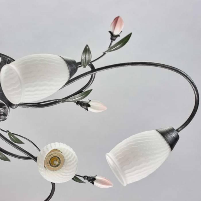 Plafonieră florală Dorris, 20x83 cm, metal/ sticla, negru