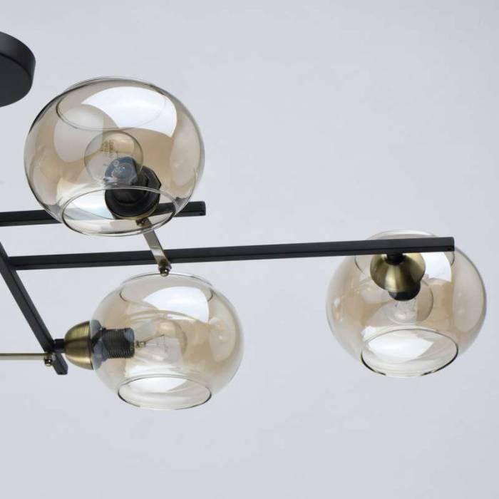 Plafonieră glob de sticlă Candace, 26x87x47 cm, metal/ aluminiu/ sticla, negru